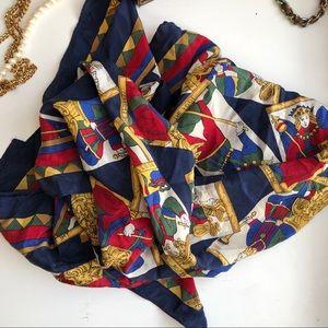 Vintage club 7 echo 100% silk scarf